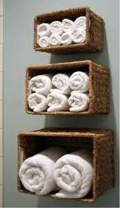 sideways baskets on wall