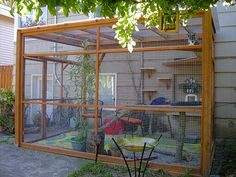Are you looking for a catio with room for you to spend time with your cat? Go here for plans to build one that fits your space.