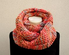 Infinity Scarf  Knitted Neckwarmer in shades of by pingosdoceu