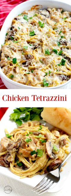 Chicken tetrazzini is a warm and comforting casserole that is perfect for a dinner party or a family meal. #chickentetrazzini #casserole   APinchOfHealthy.com
