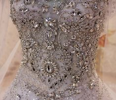 Cap Sleeves Swarovski Crystals Watteau Train Bridal Gown SCD043 - $1,180.00 :