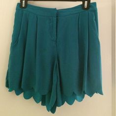 Waverly Grey Turquoise short Awesome turquoise shorts with great scalloped detail. High waisted. Silk and flowy. Make legs look skinnier!  Worn once, like new! Waverly Grey Other