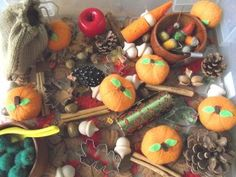 We could use ideas from this bin in our November/Thanksgiving/harvest sensory bin.
