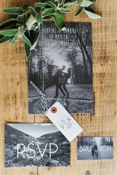 Black and white photo wedding invitations   Image by Marion Heurteboust