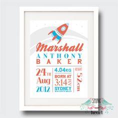 Rocketship Birth Stat Nursery Print $27.00 spunkandheart.com #wallart #nursery #interiornurserydesign #nurserydesign #birthstatprint