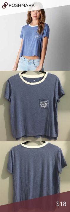 """AEO good vibes only shirt Blue shirt with white neck and white """"good vibes only"""" embroidery. Soft and loose fit perfect for the summer. In good condition barely worn American Eagle Outfitters Tops Tees - Short Sleeve"""