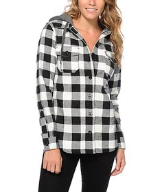 The thick and heavy weight flannel material covered in a black and white buffalo plaid print is accented by a charcoal fleece hood for a dynamic look with no shortage of comfort.