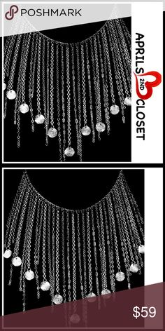 """Glam Silver Charm Fringe CHOKER BIB Necklace 💟 NEW WITH TAGS 💟  Boho Glam Silver Charm Fringe Necklace  * Gorgeous charm fringed chains cascade down the bohemian statement necklace   * Delicate dangle multi bubble disc charm layered / layers tassel fringe tassel  * Measures approx 18"""" long w/3"""" extension  * Lobster clasp closure   Material: Silver-tone rhodium plated Color: Silver # SEARCH Multiple layers delicate multi layered dainty jeweled jeweled rhinestone glam choker # 🚫No Trades🚫…"""