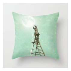 Waning Moon Throw Pillow (£16) ❤ liked on Polyvore featuring home, home decor, throw pillows, vintage home decor, moon home decor, vintage throw pillows and vintage home accessories