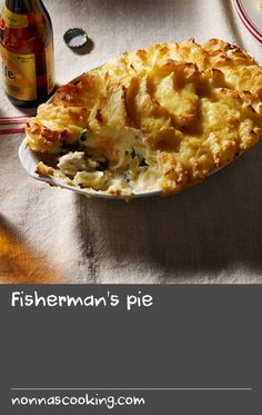 Fisherman's pie | Stage 2 – York/Sheffield: Fisherman's pie (or fish pie) is a great favourite with English families all over the country. There are many variations, some including prawns or other seafood, in addition to fish or peas and other vegetables. This recipe has some smoked haddock, which imparts a special touch. As with all good fish pies, it's topped with a layer of creamy mash.