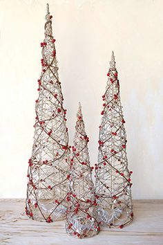 Handcrafted LED Lighted Cone Trees with Faux Red Berries, Set of 3 - store website Silver Christmas Decorations, Cone Christmas Trees, Christmas Ornament Crafts, Christmas Centerpieces, Simple Christmas, Christmas Christmas, Christmas Candles, Christmas Images, Homemade Christmas