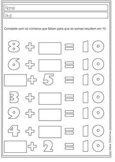 Atividades Educativas Números até 10 Matemática para Ensino Fundamental                                                                                                                                                                                 Mais