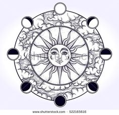 Vintage elegant hand-draw work of sun, night sky, moon phase and clouds. Sacred Geometry, Magic, Esoteric Philosophies,coloring book, tattoo, art. Vector illustration for commercial and personal use.
