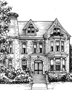 "Hand drawn custom home portrait in ink, 8""x 10"""