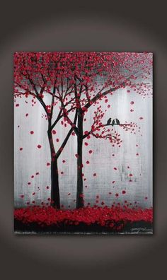 "Original abstract Textured Acrylic painting on canvas :"" Trees and birds """
