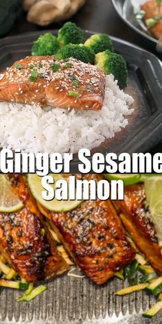 A healthy low carb baked salmon recipe with Asian-inspired flavors. This Sesame Garlic Salmon is perfect for meal prep or a quick family night meal #salmonrecipe #lowcarbseafood #recipevideo
