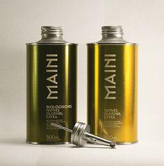 Maini olive oil #packaging Olive Oil Packaging, Organic Packaging, Bottle Packaging, Food Packaging, Brand Packaging, Packaging Ideas, Greek Olives, Olive Oil Bottles, Apricot Oil