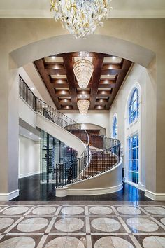 A new interior design collection of 18 Palatial Mediterranean Staircase Designs That Redefine Luxury which will make your jaw hit the floor. Luxury Staircase, Foyer Staircase, Staircase Design, Stairs, Floating Staircase, Staircases, Winding Staircase, Foyer Design, Spiral Staircase