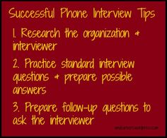 Infographic] 3 tips for a successful phone interview #tips #career ...