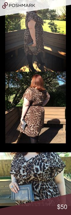 PLUS SIZE Igigi Ruffle Top Leopard Print Dress Easy dress with brown stretchy lining and flowy leopard print overlay with extra ruffle in front at the bust line. It's cinched at the waist to give the dress shape and comes with a fabric belt in the leopard overlay fabric. Size 22/24. I wear a 26 at wore this with no problem. Igigi Dresses