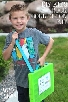 DIY Kids Rock Collection Kit - help control your kids rock hoarding by giving them a specific place to keep there rocks!  From www.overthebigmoon.com!