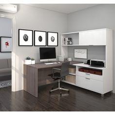 Bestar Pro-Linea L-Desk with Hutch - Overstock™ Shopping - The Best Prices on Bestar L-Shape Desks