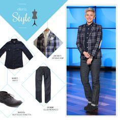 Ellen's Look of the Day: plaid jacket, navy button up, denim and boots