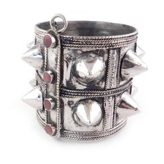 Double Row Tribal Spike Cuff Red Stones