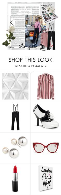 """Stripe street style"" by wodecai ❤ liked on Polyvore featuring Mr Perswall, Tommy Hilfiger, CourtShop, Funtasma, Yoko London, Miu Miu, MAC Cosmetics, LulusimonSTUDIO and Chanel"