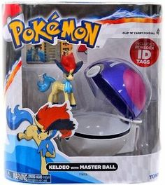 "TOMY Pokemon Clip 'N"" Carry Pokeball ~ Keldeo Figure & Master Ball"