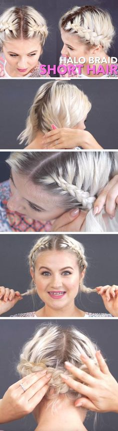 Halo Braid   23 Easy Festival Hairstyles for Short Hair that works for long hair too!
