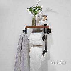 Bathroom Shelves Hot Sale Urban Industrial Wall Mount Wood Storage Shelf Iron Pipe Double Toilet Paper Holder Roller Restroom Bathroom Decoration