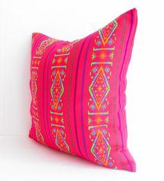 Neon Pink Aztec pillow