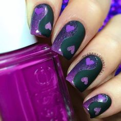 "Black & Purple ""Ying-Yang"" Valentine's Day Mani w/ Hearts and Glitter @sensationails4u ♡♥♡♥♡♥"