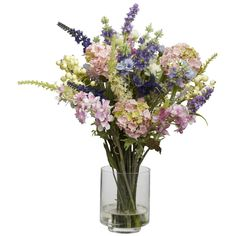Lavender & Hydrangea Silk Flower Arrangement - Picking the best samples from a cornucopia of choices, this Lavender and Hydrangea Arrangement is a delight of pastel and cream colors. Reaching 16 inches high and then spreading outward, this bountiful collection of flowers is the perfect addition to any home or office. Comes with a clear vase with liquid illusion, and they look so real, you'll have people asking to see your garden. Number of Trunks: NA Number of Flowers: NA Number of Leaves…