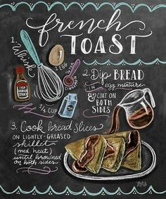 Lily & Val - French toast recipe - French toast recipe at Posterlounge ✔ Affordable shipping ✔ Secure payment ✔ Various material - Blackboard Art, Chalkboard Lettering, Chalkboard Print, Chalkboard Designs, Hand Lettering, Chalkboard Art Kitchen, Chalkboard Drawings, Chocolate Cookie Recipes, Easy Cookie Recipes