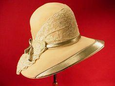 Antique Vintage 1920s Genuine Flapper Cloche Ladies Hat Wide Brim Lace Trim | eBay