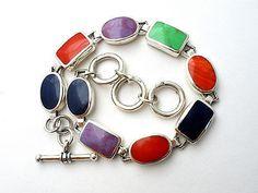 Sterling Silver Gemstone Bracelet Coral Lapis Gaspeite Charoite Black Onyx