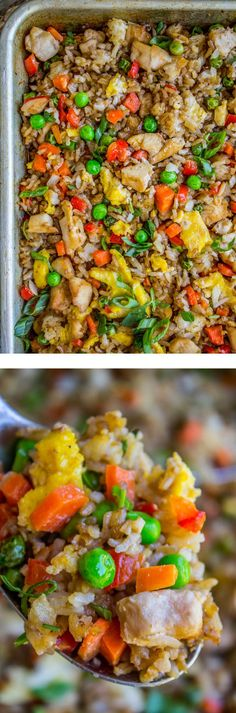 Sheet Pan Chicken Fried Rice from The Food Charlatan. Chicken Fried Rice, made on a sheet pan in the oven! It is so easy and comes together quick. Adding chicken turns this into a main dish, making all my Chinese food dreams come true. I can't be the only one who eats fried rice by the shovelful right? #sheetpan #friedrice #asian #chinese #sheetpandinner #peas #carrots #rice #easy #eggs #bellpepper #soysauce