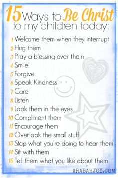 15 Ways for Mommas to be Christ to their children.