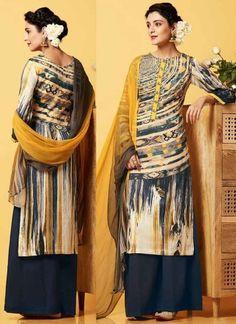 Mustard Cotton Satin Button Work Printed Designer Pakistani Fancy Palazzo Suit  http://www.angelnx.com/Salwar-Kameez/Bollywood-Salwar