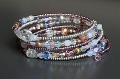 Purple Pink & Silver Memory Wire Bracelet by ExpressAndEnchant