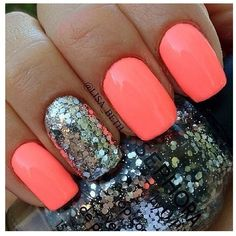Coral and silver nails