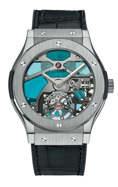 Hublot Classic Fusion Tourbillon Titanium Blue Vitrail Men's Watch Model No. Dream Watches, Fine Watches, Luxury Watches, Amazing Watches, Cool Watches, Watches For Men, Unique Watches, Vintage Watches, Hublot Classic Fusion