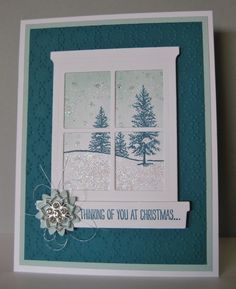 Barb Mann Stampin' Up! Demonstrator - Winter Window Card - SU - Happy Scenes - Christmas, winter (by Barb Mann)