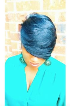 Best Ideas For Short Haircuts : Lovely blue via blackhairinformat Pretty Hairstyles, Straight Hairstyles, Black Hairstyles, Hairstyle Ideas, Hair Ideas, Short Hair Cuts, Short Hair Styles, Pixie Cuts, Bold Hair Color
