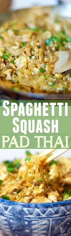 A healthy Spaghetti Squash Pad Thai recipe that tastes so amazing, you'd almost swear it's the real thing! (gluten free & paleo option included) #healthy #paleo #glutenfree