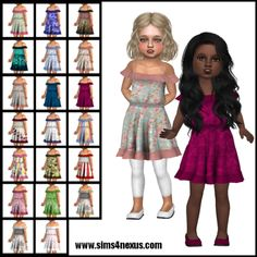 """Please note the link goes through adfly! (Wait 5 seconds, click """"skip"""") Other CC used in picture above: Hair: Runaway by Stealthic at TSR Toddler Cc Sims 4, Sims 4 Toddler Clothes, Sims 4 Mods Clothes, Sims 4 Clothing, Toddler Dress, Toddler Outfits, Kids Outfits, Clothes Sale, Girl Clothing"""