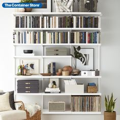 The bright, clean finish of our exclusive Elfa Décor 6' Bookshelf is the perfect backdrop for anything you want to display. Available only at The Container Store, the sophisticated lines, subtle elegance and exceptional strength of this Elfa solution provide the perfect venue for your entire collection of literature, magazines, art, DVDs, Blu-Rays, vinyl records, and more. Interior, Bookshelves Diy, Bookshelves, Bookshelves In Bedroom, Living Room Shelves, Beautiful Bookshelf, Living Room Decor, Home Decor, Bookshelves In Living Room