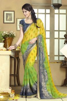 Buy Multi Chiffon Party Wear Saree Online in low price at Variation. Huge collection of Party Wear Sarees for Party, Festivals, Engagements and Ceremonies. #party #partywearsarees #sarees #onlineshopping #latest #lowprice #variation. To see more - https://www.variation.in/collections/party-wear-sarees